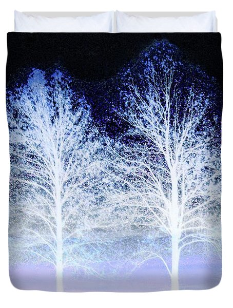 Two Trees In Winter Duvet Cover