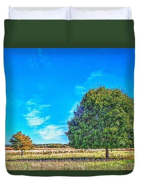 Two Trees On The Illinois Prairie Duvet Cover