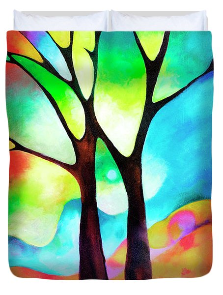 Two Trees Duvet Cover by Sally Trace