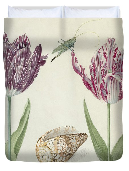 Two Tulips A Shell And A Grasshopper Duvet Cover