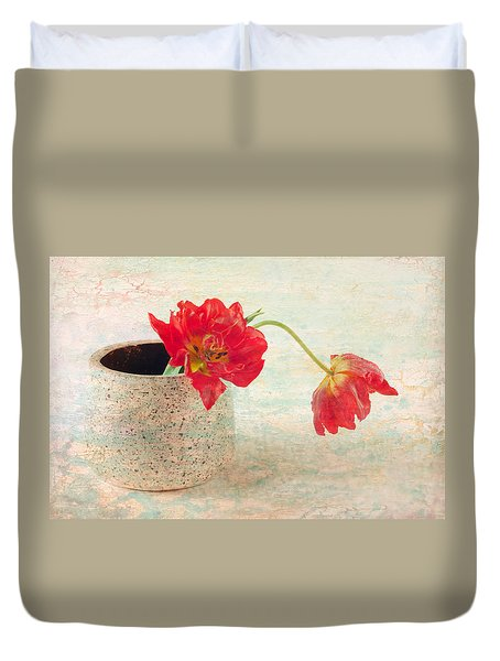 Two  Tulips   Duvet Cover by Catherine Lau