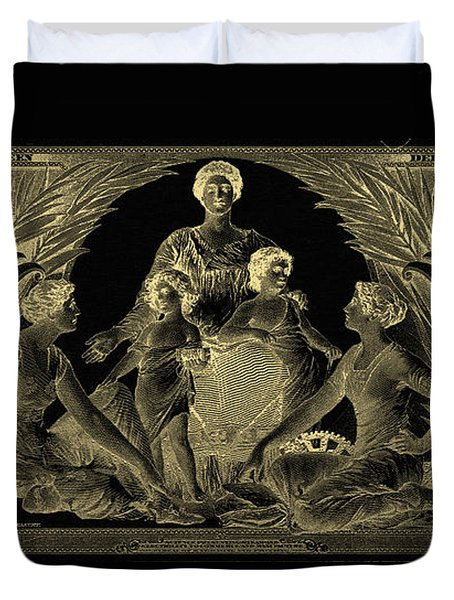 Duvet Cover featuring the photograph Two U.s. Dollar Bill - 1896 Educational Series In Gold On Black  by Serge Averbukh