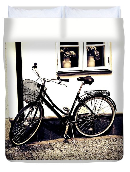 Duvet Cover featuring the photograph Two Vases And A Bike by Karen Stahlros