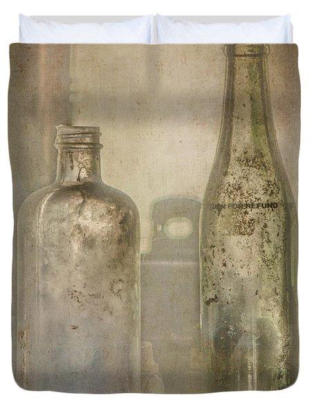Two Vintage Bottles Duvet Cover