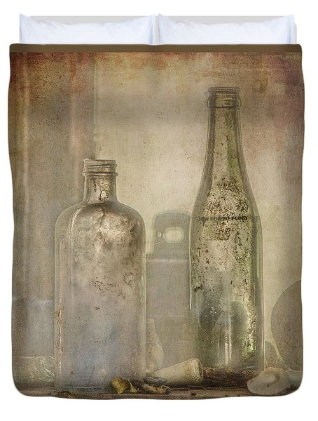 Two Vintage Bottles Duvet Cover