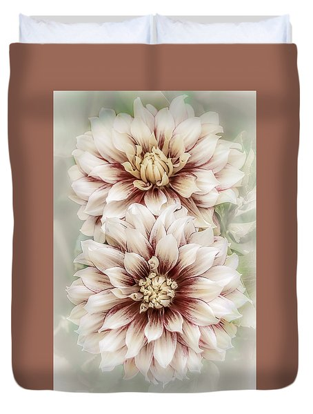Two Vintage Dahlias Duvet Cover