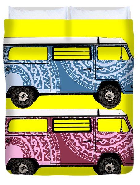 Two Vw Vans Duvet Cover