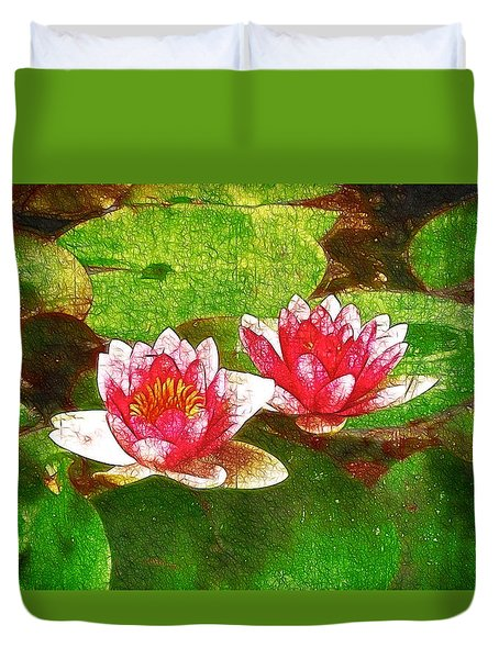 Two Waterlily Flower Duvet Cover by Lanjee Chee