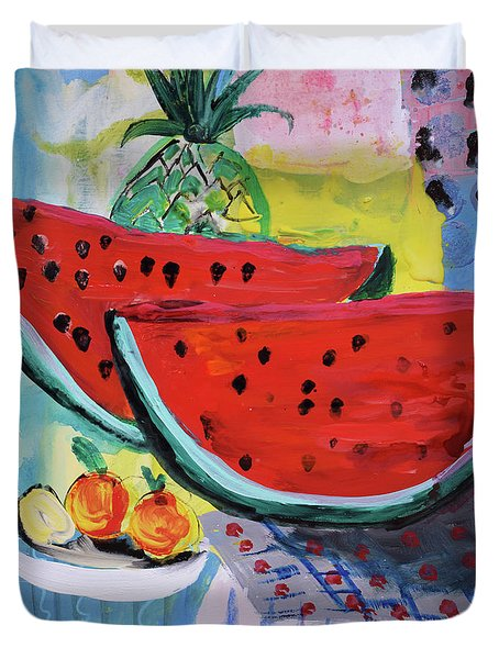 Two Watermelons And Pineapple Duvet Cover by Amara Dacer