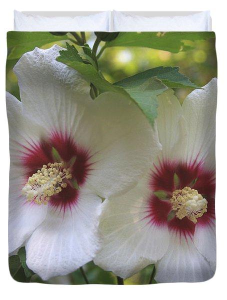 Two White Hibscus  Duvet Cover