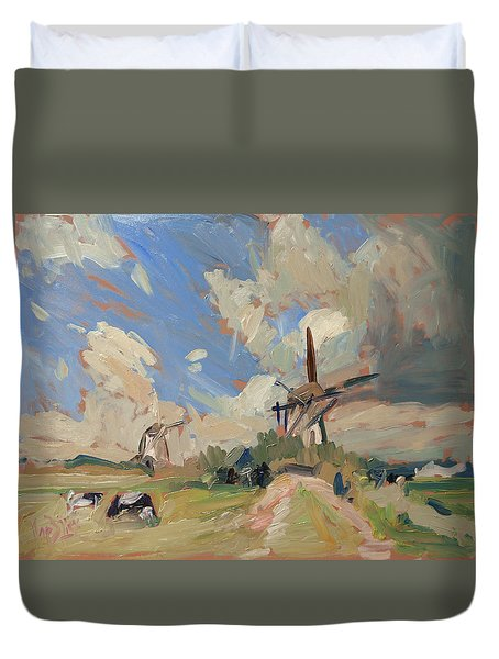 Two Windmills Duvet Cover by Nop Briex