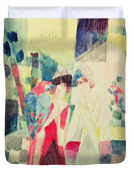 Two Women And A Man With Parrots Duvet Cover by August Macke