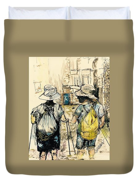 Texans On The Camino De Santiago Duvet Cover