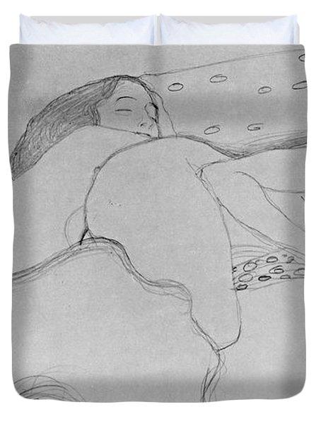Two Women Asleep Duvet Cover