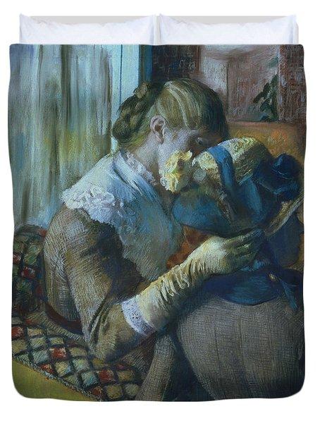 Two Women Duvet Cover by Edgar Degas