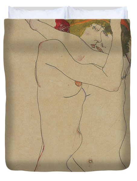 Two Women Embracing, 1913  Duvet Cover