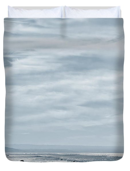 Two Women Walking At The Beach In The Winter Duvet Cover by Jose Elias - Sofia Pereira