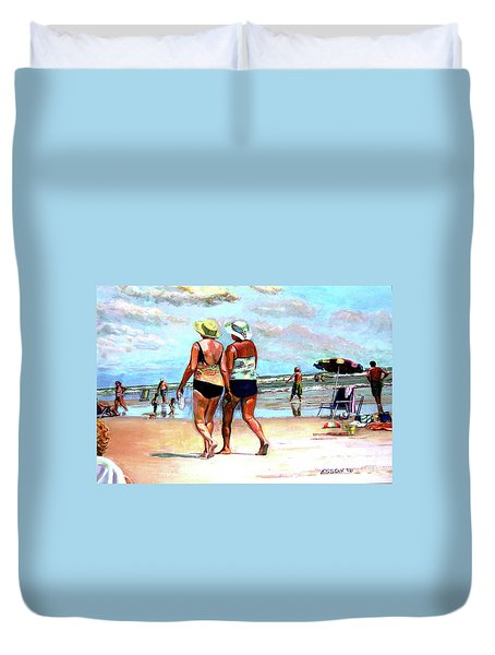 Duvet Cover featuring the painting Two Women Walking On The Beach by Stan Esson