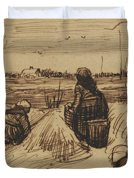 Two Women Working In The Fields, 1885 Duvet Cover