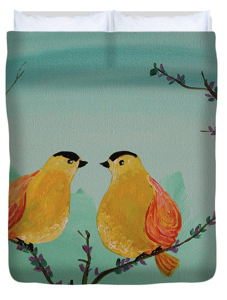 Two Yellow Chickadees Duvet Cover