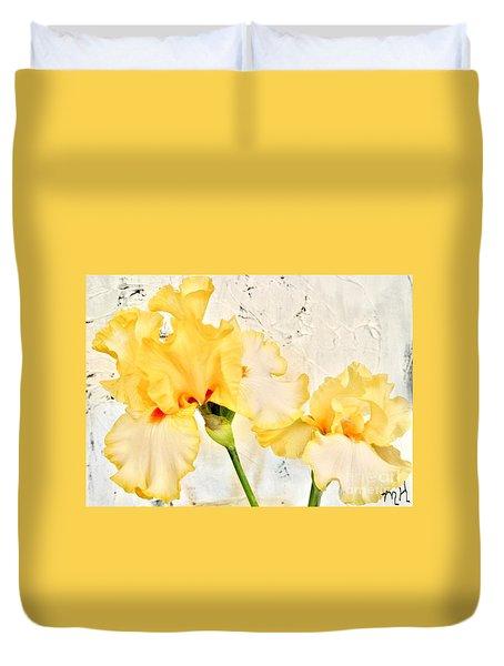 Two Yellow Irises Duvet Cover