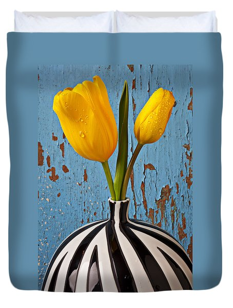 Two Yellow Tulips Duvet Cover by Garry Gay
