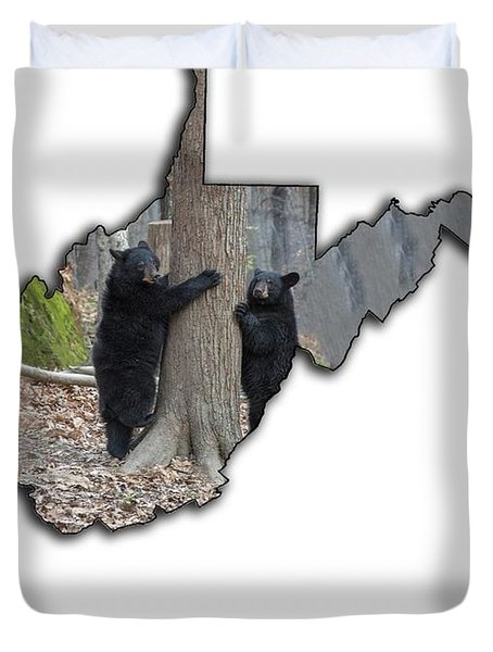 Two Young Black Bear Standing By Tree Duvet Cover