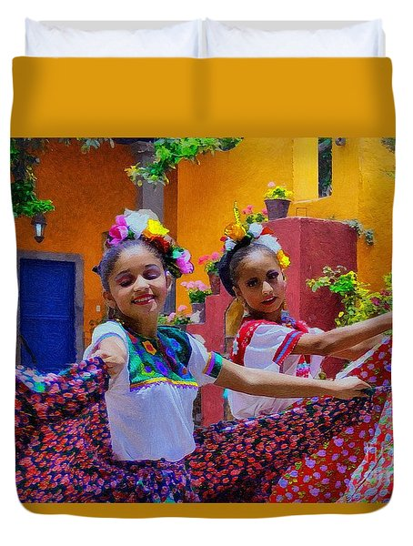 Two Young Mexican Girls Dancing Duvet Cover