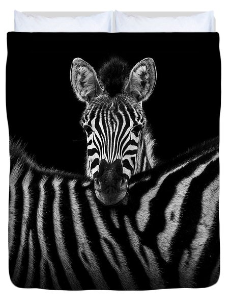 Two Zebras In Black And White Duvet Cover