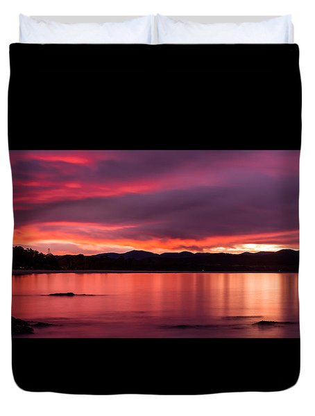 Twofold Bay Sunset Duvet Cover by Racheal  Christian