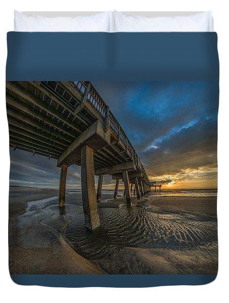 Tybee Island Beach Pier  Duvet Cover