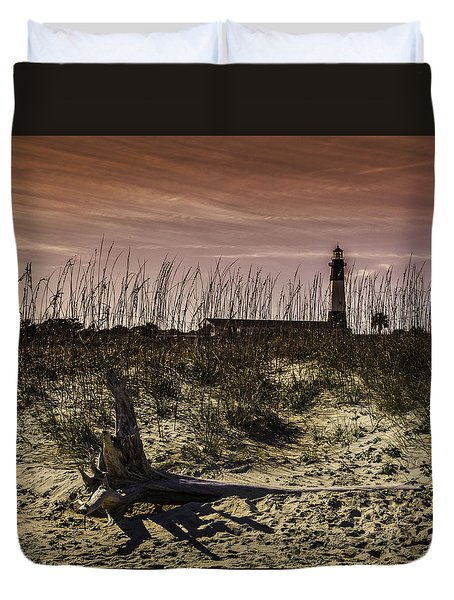 Tybee Lighthouse Sunset Duvet Cover