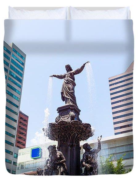 Tyler Davidson Fountain Cincinnati Ohio  Duvet Cover by Paul Velgos