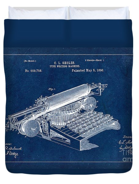 Type Writing Machine Patent From 1896 - Blue Duvet Cover