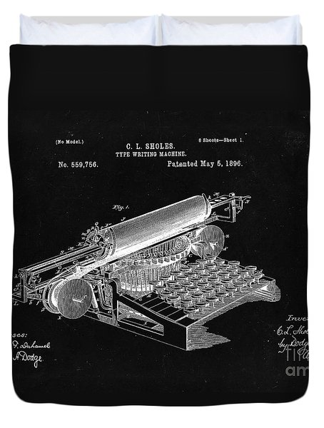 Type Writing Machine Patent From 1896  - Black Duvet Cover