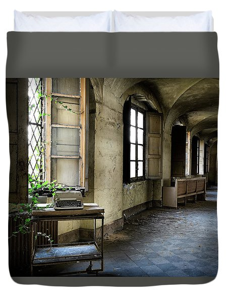 Duvet Cover featuring the photograph Typewriter Story Of Abandoned Building - Urbex Exploration by Dirk Ercken