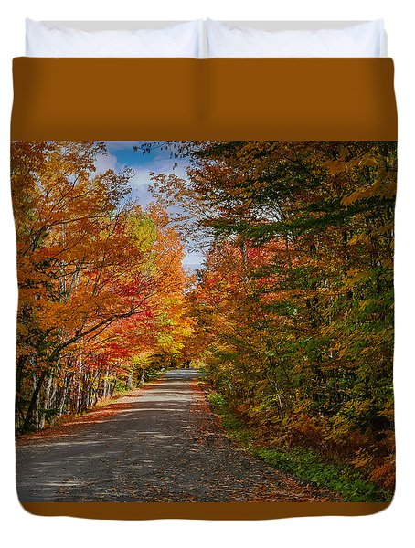 Typical Vermont Dirve - Fall Foliage Duvet Cover