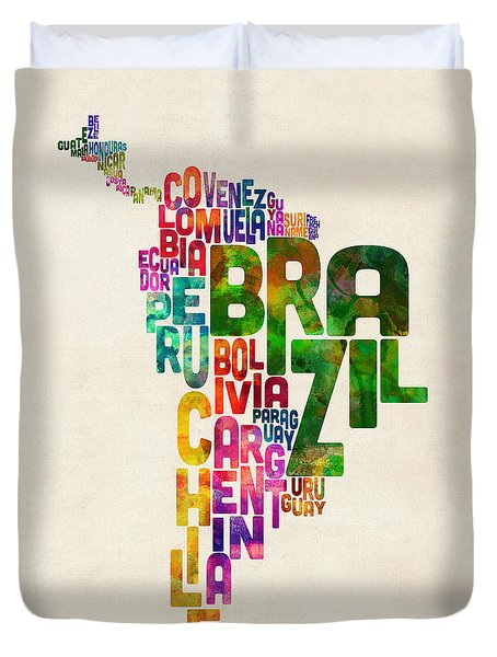 Typography Map Of Central And South America Duvet Cover