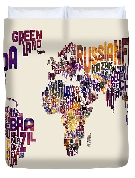 Typography Text Map Of The World Map Duvet Cover