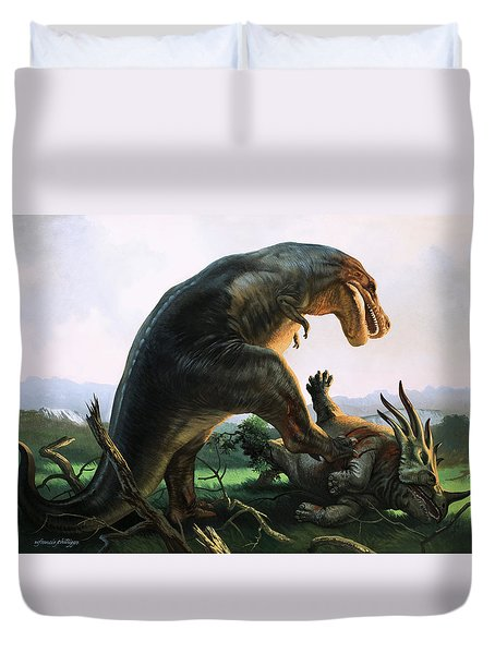 Tyrannosaurus Rex Eating A Styracosaurus Duvet Cover by William Francis Phillipps