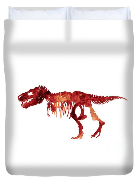 Tyrannosaurus Rex Skeleton Poster, T Rex Watercolor Painting, Red Orange Animal World Art Print Duvet Cover