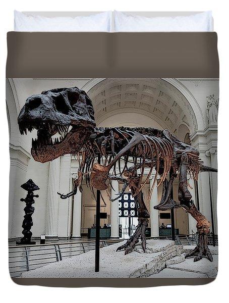 Duvet Cover featuring the digital art Tyrannosaurus Rex Sue - Chicago by Daniel Hagerman