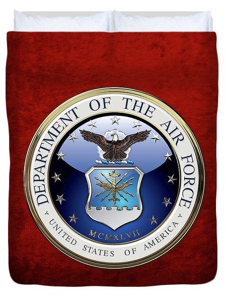 U. S.  Air Force  -  U S A F Emblem Over Red Velvet Duvet Cover