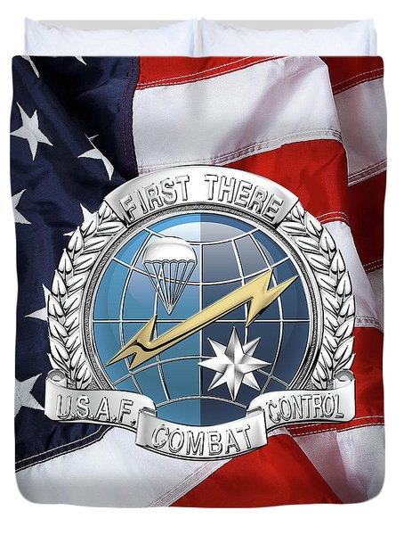 U. S.  Air Force Combat Control Teams - Combat Controller C C T Badge Over American Flag Duvet Cover by Serge Averbukh