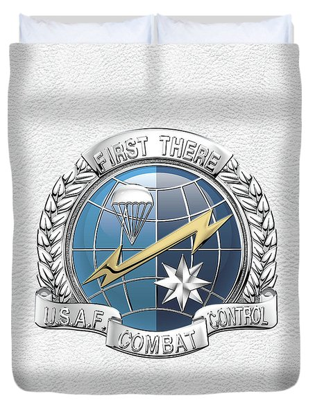U. S.  Air Force Combat Control Teams - Combat Controller C C T Badge Over White Leather Duvet Cover by Serge Averbukh