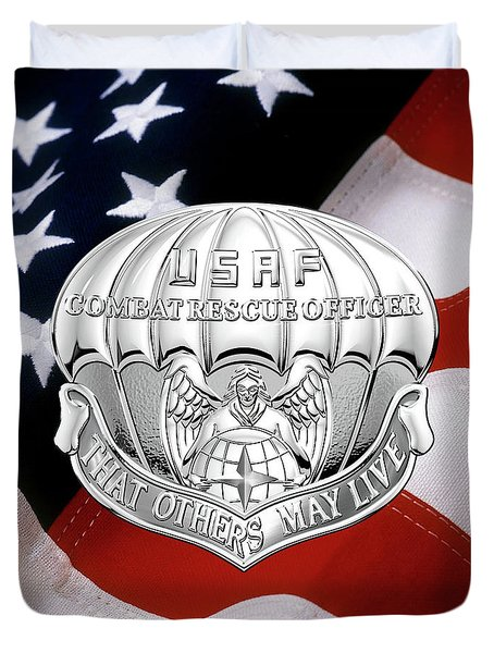 U. S.  Air Force Combat Rescue Officer - C R O Badge Over American Flag Duvet Cover by Serge Averbukh