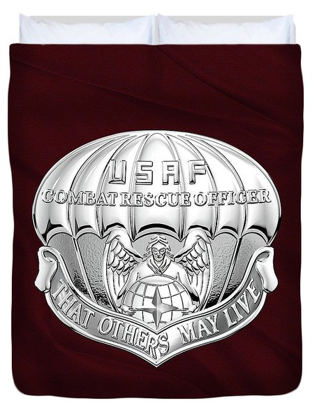 U. S.  Air Force Combat Rescue Officer - C R O Badge Over Maroon Felt Duvet Cover by Serge Averbukh