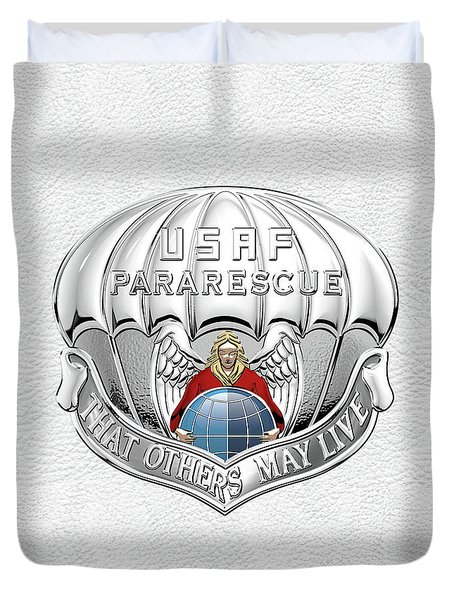 U. S.  Air Force Pararescuemen - P J Badge Over White Leather Duvet Cover by Serge Averbukh