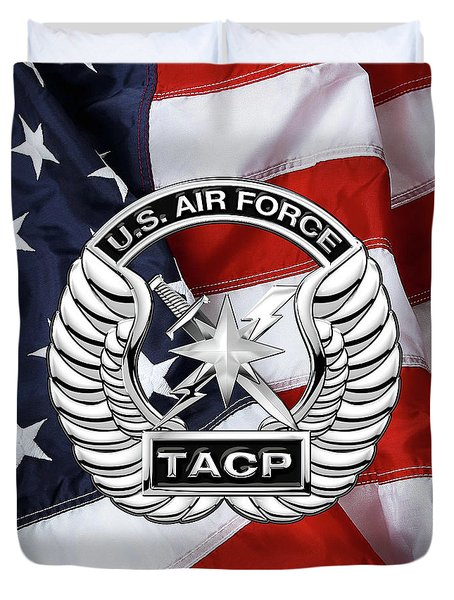 Duvet Cover featuring the digital art U. S.  Air Force Tactical Air Control Party -  T A C P  Badge Over American Flag by Serge Averbukh
