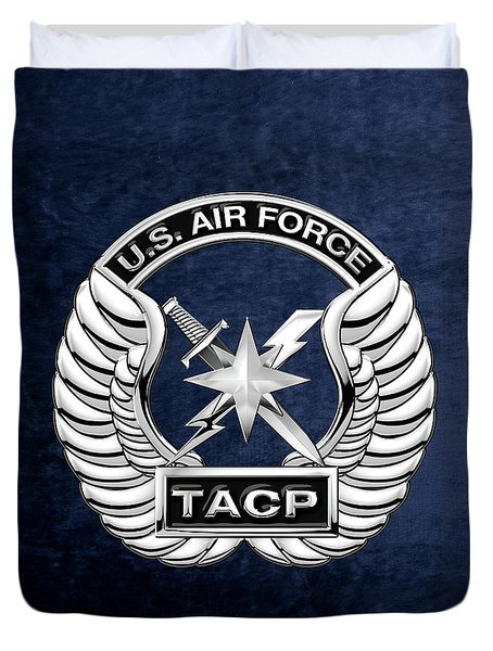 Duvet Cover featuring the digital art U. S.  Air Force Tactical Air Control Party -  T A C P  Badge Over Blue Velvet by Serge Averbukh